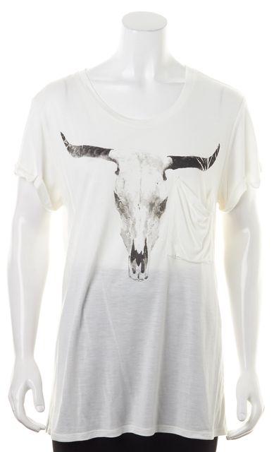 HAUTE HIPPIE White Gray Sheer Skull Graphic Modal T-Shirt
