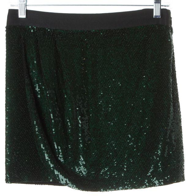 HAUTE HIPPIE Green Black Sequin Silk Wrap Effect Mini Skirt