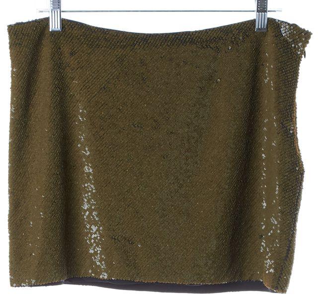 HAUTE HIPPIE Green Sequin Silk Mini Skirt