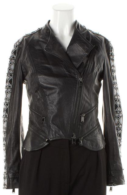 HAUTE HIPPIE Black Bead Embellished Leather Motorcycle Jacket