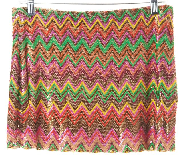 HAUTE HIPPIE Multi-color Sequin Embellished Chevron Silk Mini Skirt