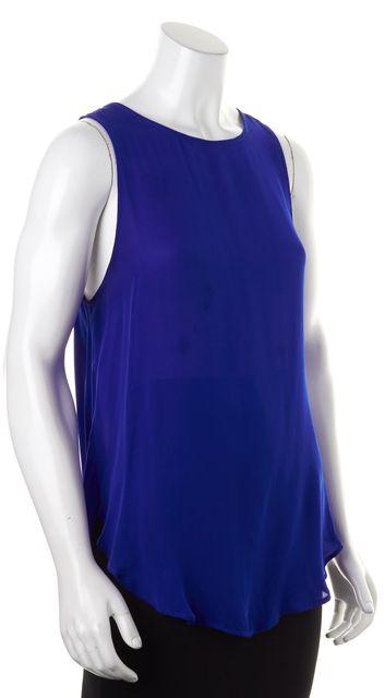 HAUTE HIPPIE Bright Blue Sheer Silk Sleeveless Open Back Blouse