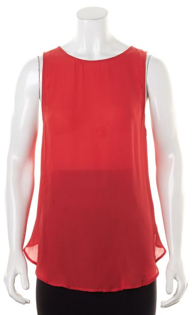 HAUTE HIPPIE Red Sheer Silk Sleeveless Blouse