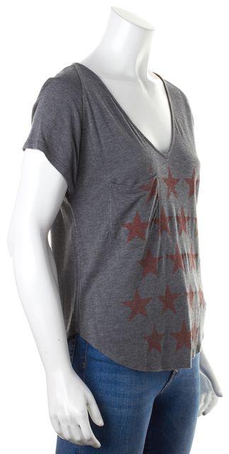 HAUTE HIPPIE Gray Red Graphic Star Printed V-Neck Basic Tee T-Shirt