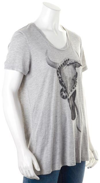 HAUTE HIPPIE Gray Longhorn Skull With Snake Graphic Modal T-Shirt