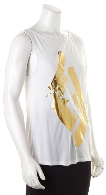 HAUTE HIPPIE White Gold Graphic Modal Sleeveless Tank Top