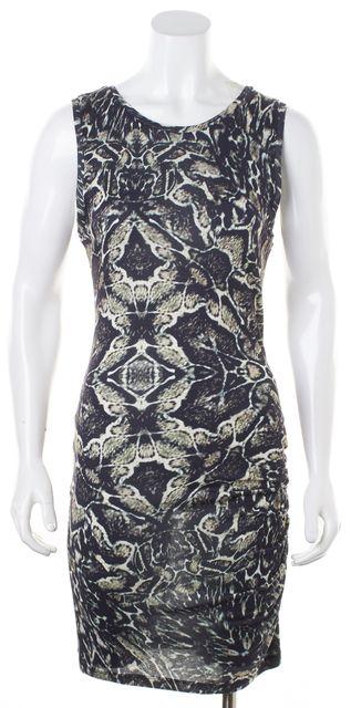 HAUTE HIPPIE Black Brown Animal Print Modal Sleeveless Bodycon Dress