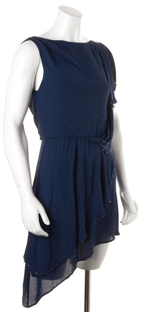 HAUTE HIPPIE Navy Blue Embellished Sleeveless Blouson Dress