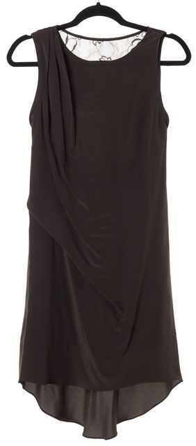 HAUTE HIPPIE Brown Floral Lace Back Silk Sleeveless Shift Dress