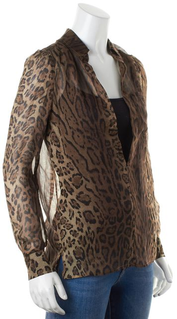 HAUTE HIPPIE Brown Black Leopard Print V-Neck Sheer Blouse Top