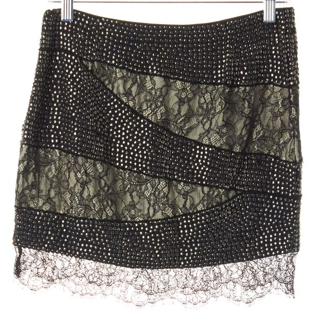 HAUTE HIPPIE Black Floral Lace Stud Embellished Silk Mini Skirt