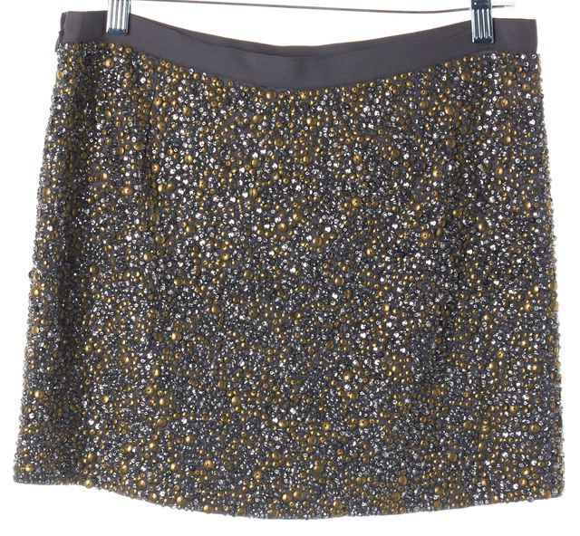 HAUTE HIPPIE Graphite Gray Sequin Bead Embellished Silk Mini Skirt