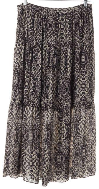 HAUTE HIPPIE Black Silk Shadow Snake Printed Full Maxi Skirt