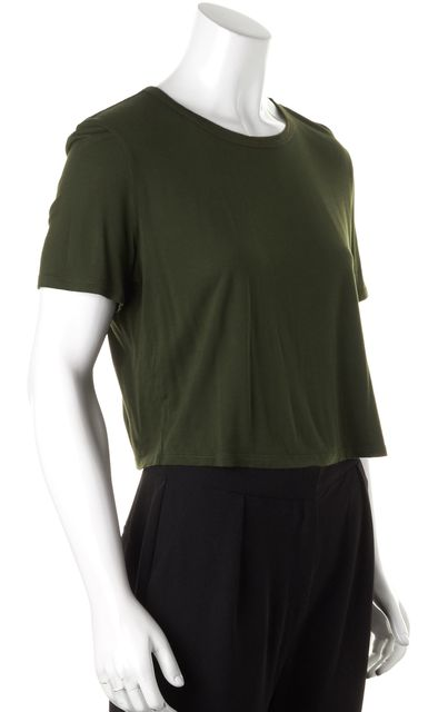 HAUTE HIPPIE Juniper Green Modal Jersey Cropped Basic Tee T-Shirt