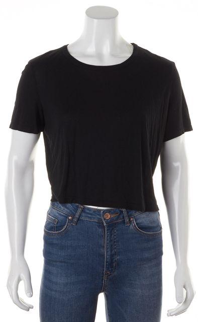 HAUTE HIPPIE Black Modal Short Sleeve Cropped Basic T-Shirt