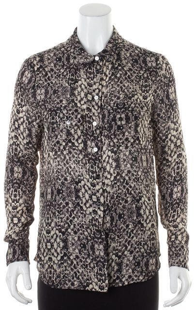 HAUTE HIPPIE Black Beige Abstract Printed Silk Button Down Blouse
