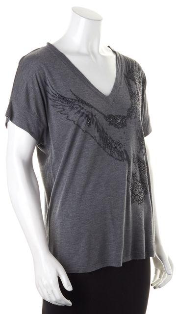 HAUTE HIPPIE Dark Gray Eagle Jewel Embellished Modal V-Neck T-Shirt