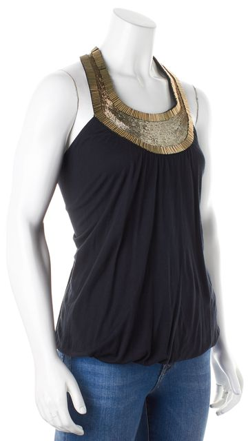 HAUTE HIPPIE Black Gold Bead Embellished Racerback Blouse Top