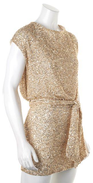 HAUTE HIPPIE Ivory Gold Sequin Embellished Silk Blouson Dress