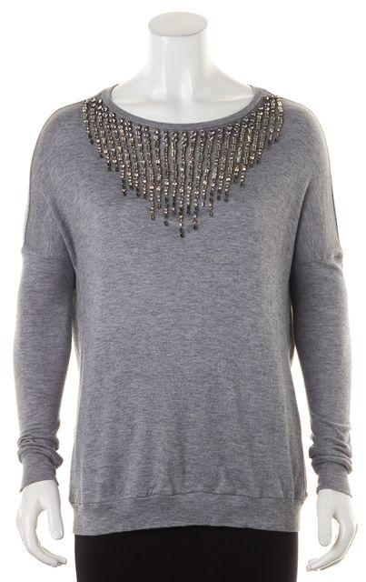 HAUTE HIPPIE Gray Jewel Embellished Long Sleeve Knit Top