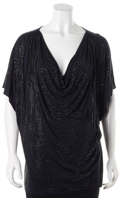 HAUTE HIPPIE Black Rhinestone Embellished Short Sleeve Top