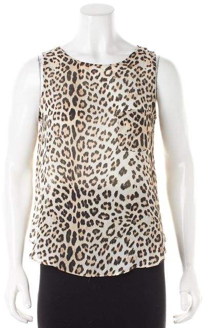 HAUTE HIPPIE Brown Beige Leopard Printed Silk Sleeveless Wrap Back Blouse