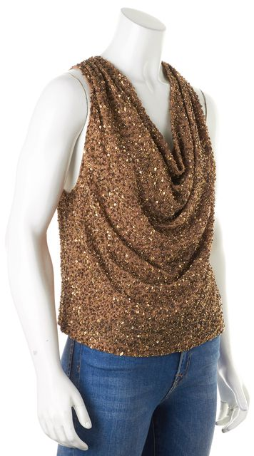 HAUTE HIPPIE Sun Tan Brown Bead Sequin Embellished Blouse Top