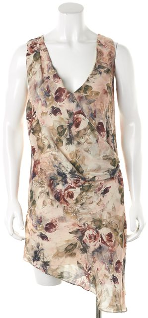 HAUTE HIPPIE Beige Pink Floral Silk Asymmetrical Faux Wrap Sheath Dress
