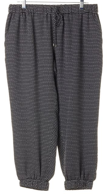 HAUTE HIPPIE Black White Geometric Silk Cropped Casual Pants
