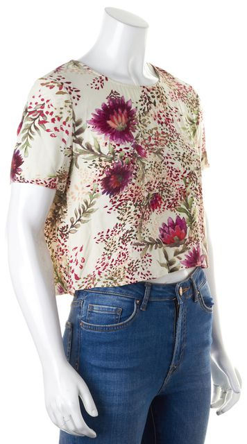 HAUTE HIPPIE Ivory Pink Floral Printed Short Sleeve Cropped Blouse Top