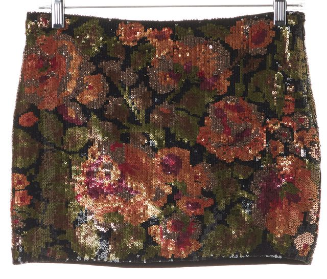 HAUTE HIPPIE Black Pink Rose Floral Sequin Embellished Micro Mini Skirt