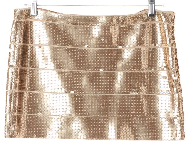 HAUTE HIPPIE Metallic Gold Sequin Embellished Mini Pencil Skirt