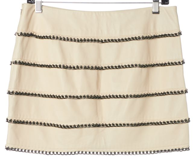 HAUTE HIPPIE Pale Beige Leather Chain Tiered Embellished A-Line Skirt