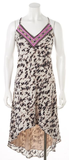 HAUTE HIPPIE Beige Silk Leopard Print Asymmetrical Hem Dress
