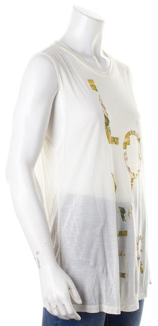 HAUTE HIPPIE Ivory Sheer Lover Floral Graphic Modal Tank Top