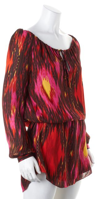 HAUTE HIPPIE Pink Red Abstract Silk Keyhole Neck Tie Tunic Blouse