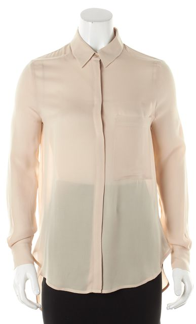 HAUTE HIPPIE Beige Crepe Silk Long Sleeve Striped Button Down Shirt