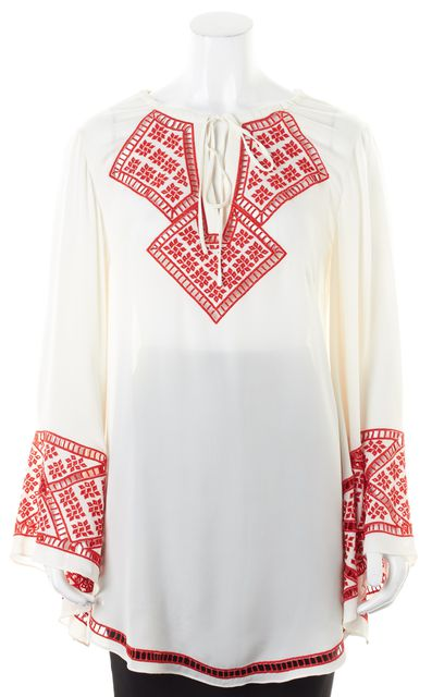 HAUTE HIPPIE White Red Embroidered Silk Oversized Tunic Blouse