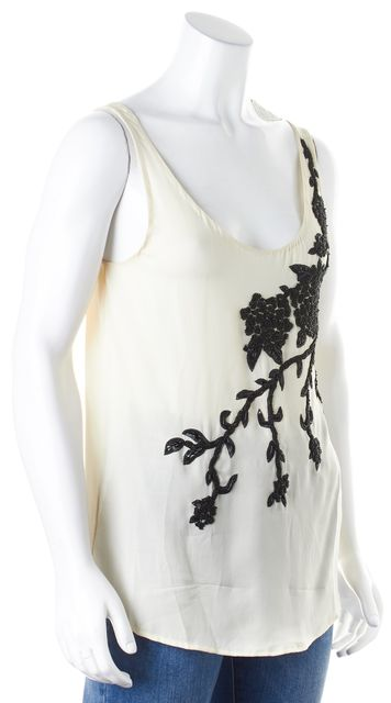 HAUTE HIPPIE Ivory Black Bead Sequin Embellished Silk Sleeveless Blouse