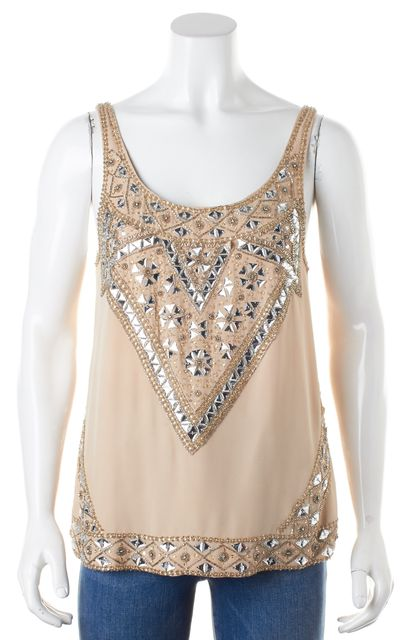 HAUTE HIPPIE Beige Crystal Bead Embellished Silk Blouse