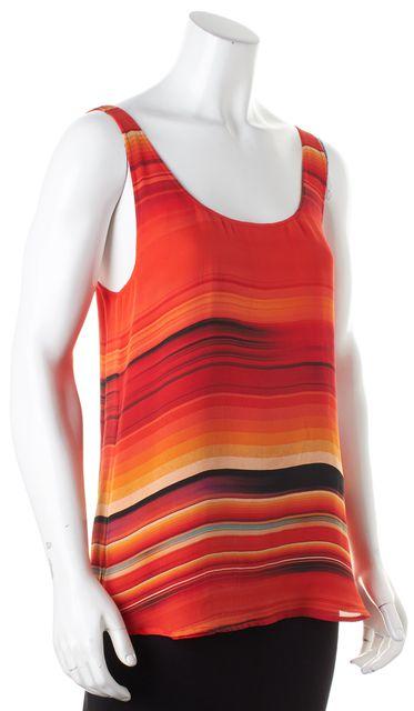 HAUTE HIPPIE Red Orange Striped Silk Sleeveless Blouse