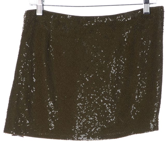 HAUTE HIPPIE Military Green Sequin Silk Mini Skirt