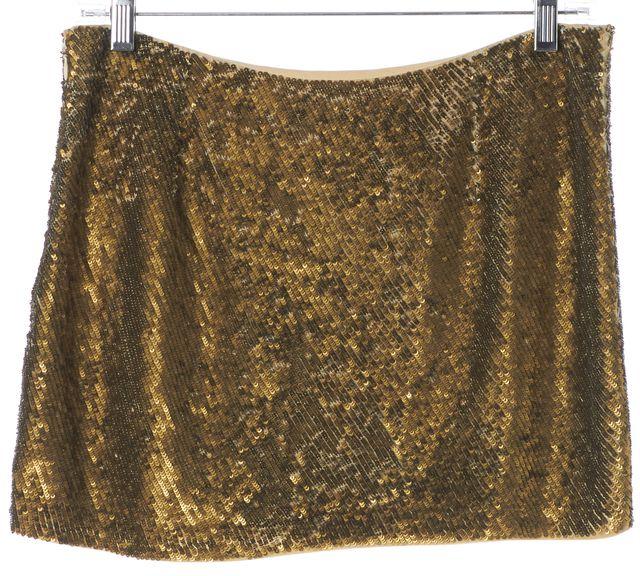 HAUTE HIPPIE Gold Sequin Embellished Silk Mini Skirt