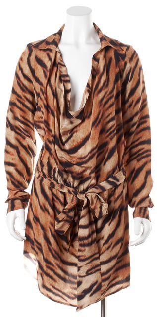 HAUTE HIPPIE Brown Animal Print Silk Cowl Neck Blouson Dress
