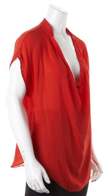 HAUTE HIPPIE Red Silk Cowl Neck Cap Sleeve Semi Sheer Blouse