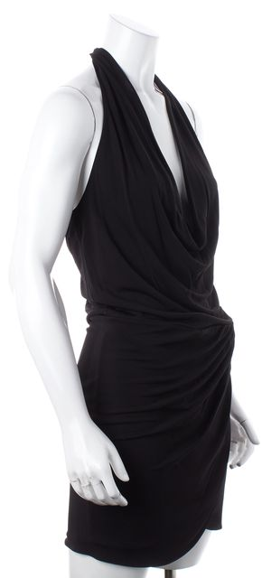 HAUTE HIPPIE Black Stretch Halter Sheath Dress