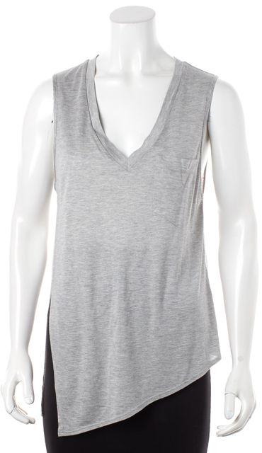 HAUTE HIPPIE Gray Tank Top Side Slit Pocket Detail Basic Tee T-Shirt