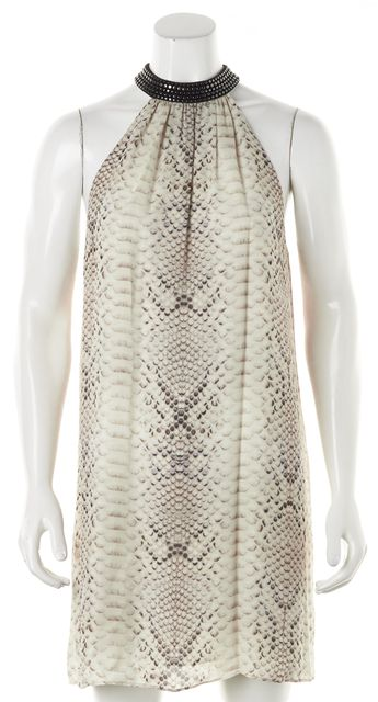 HAUTE HIPPIE Ivory Animal Print Silk Sleeveless Blouson Dress