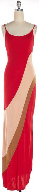 HAUTE HIPPIE Red Beige Spaghetti Straps Colorblock Side-Slit Maxi Dress