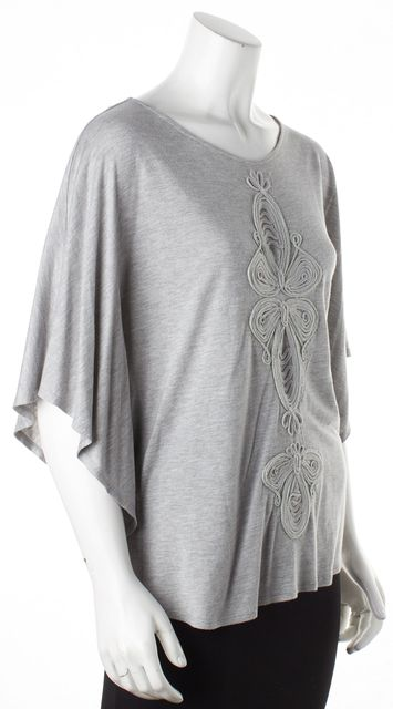 HAUTE HIPPIE Gray Embroidered Blouse Top